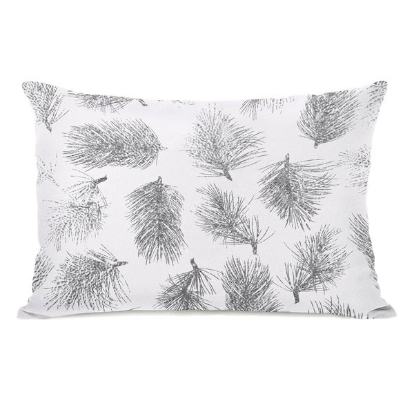 Pine Leaves - Ivory 14x20 Throw Pillow by OBC