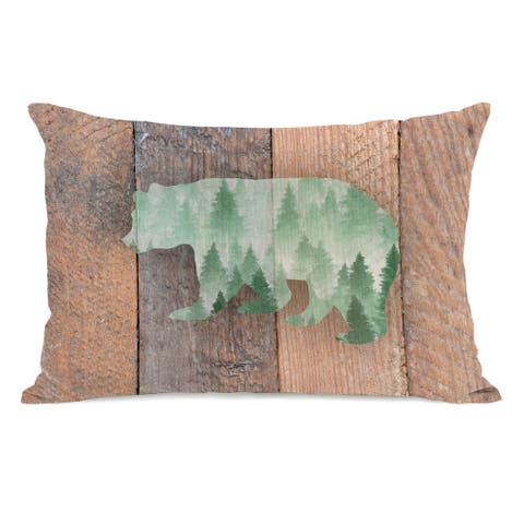Mountain Bear - Tan 14x20 Throw Pillow by OBC