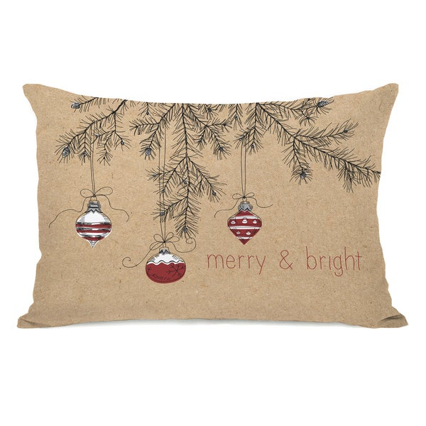 Merry And Bright Ornaments - Tan 14x20 Throw Pillow by OBC. Opens flyout.