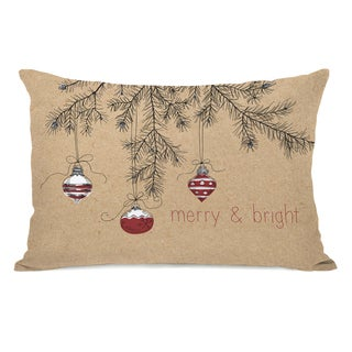 Merry And Bright Ornaments - Tan 14x20 Throw Pillow by OBC