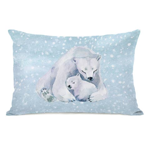 Blizzard Bears - Blue 14x20 Throw Pillow by OBC