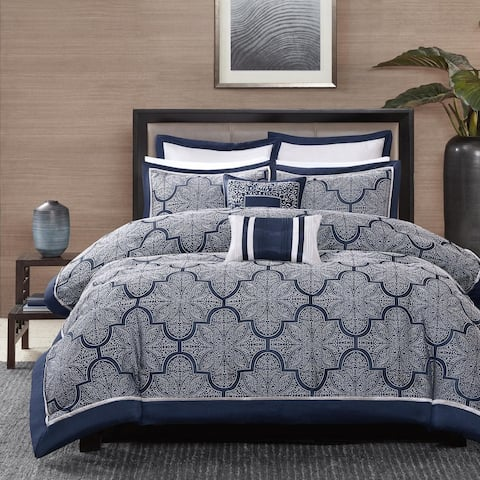 Madison Park Barrett 8-Piece Jacquard Cal-King Size Comforter Set in Navy (As Is Item)
