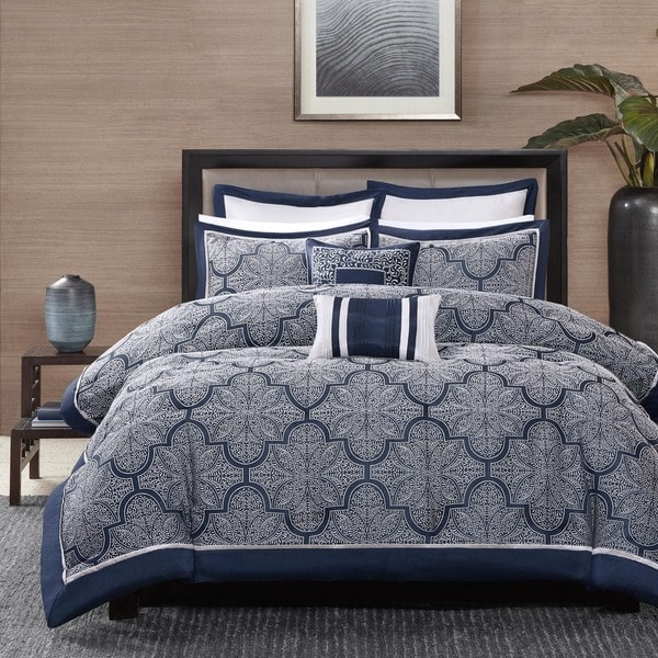 Madison Park Barrett 8-Piece Jacquard Cal-King Size Comforter Set in Navy (As Is Item). Opens flyout.