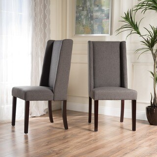 Rory Wing-Back Fabric Dining Chair (Set of 2) by Christopher Knight Home in Dark Grey (As Is Item)