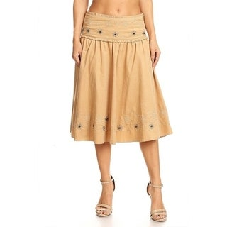 Women's Floral Embroidered Gathered Detail Skirt