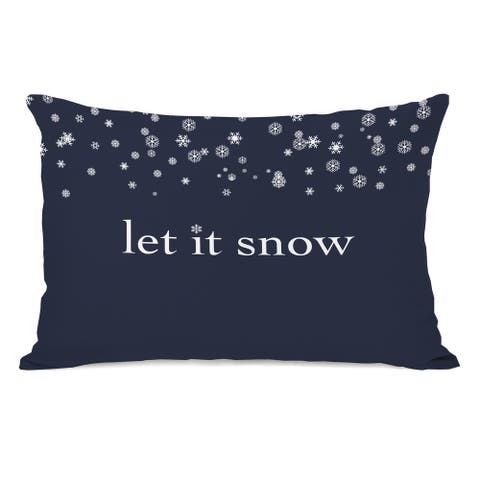Let It Snow - Blue 14x20 Throw Pillow by OBC
