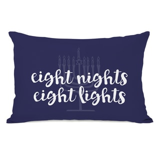 Eight Nights Eight Lights - Blue 14x20 Throw Pillow by OBC