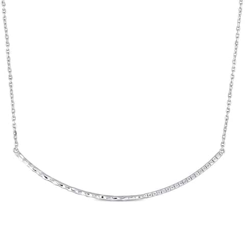 Miadora Signature Collection 14k White Gold 1/7ct TDW Diamond Curved Bar Necklace