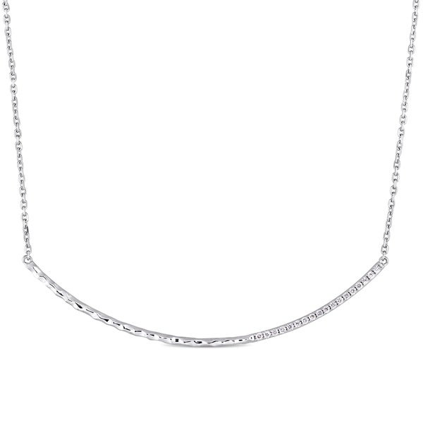 3086bdec8032d Miadora Signature Collection 14k White Gold 1/7ct TDW Diamond Curved Bar  Necklace
