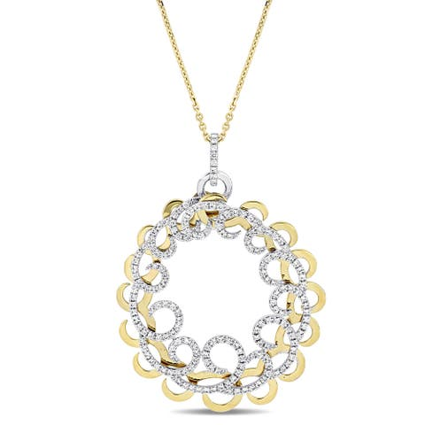 Miadora Signature Collection 2-Tone 14k White and Yellow Gold 1 3/8ct TDW Diamond Interlaced Filigree Ring Necklace