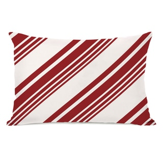 Candy Cane Pattern - Red 14x20 Throw Pillow by OBC