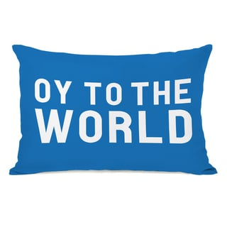 Bold Oy To The World - Blue 14x20 Throw Pillow by OBC