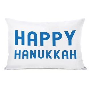 Bold Hppy Hanukkah - Blue 14x20 Throw Pillow by OBC