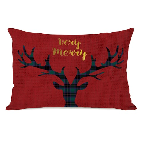 Very Merry Antlers- Red Multi 14x20 Throw Pillow by OBC