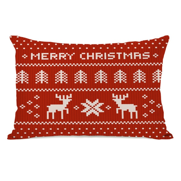 Merry Christmas Sweater- Red Multi 14x20 Throw Pillow by OBC. Opens flyout.