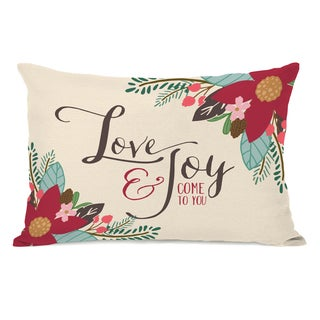 Love & Joy Come To You - Multi 14x20 Throw Pillow by Pen & Paint