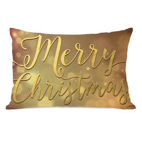 Merry Christmas - Champagne 14x20 Pillow by OBC