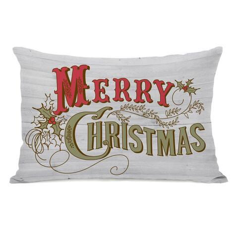 Retro Merry Christmas - White Multi 14x20 Throw Pillow by OBC
