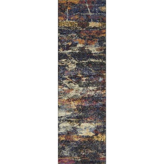 Alexander Home Phaedra Abstract Navy/Multicolor Rug (2'3 x 8')