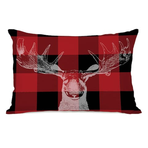 Buffalo Check Moose - Red Black 14x20 Throw Pillow by OBC