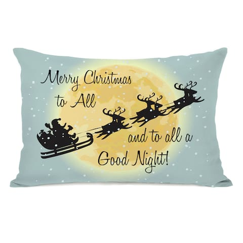 Merry Christmas To All - Blue 14x20 Throw Pillow by OBC