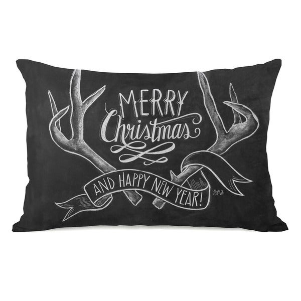 Merry Christmas Antlers - Gray White 14x20 Throw Pillow by Lily & Val