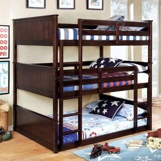 Furniture of America Baligio Wood/Veneer Transitional Triple Decker Bunk Bed