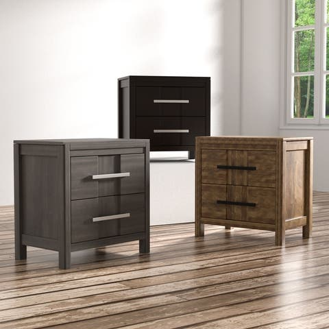 Furniture of America Tass Contemporary Solid Wood 2-drawer Nightstand