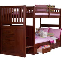 Lyke Home Mercedes Twin Over Full Staircase Bunk Bed