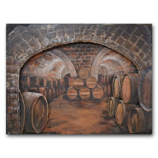 Benjamin Parker 'Wine Cellar' 35 x 47-inch Wood and Metal Wall Art
