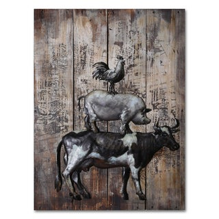 Benjamin Parker 'Fun in the Barnyard' 23 x 31-inch Wood and Metal Wall Art