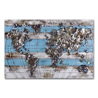 Benjamin Parker 'World in Blue' 31 x 47-inch Wood and Metal Wall Art
