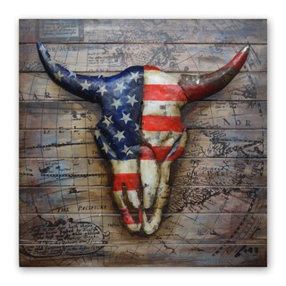 Benjamin Parker 'Patriotic Steer' 31-inch Wood and Metal Wall Art