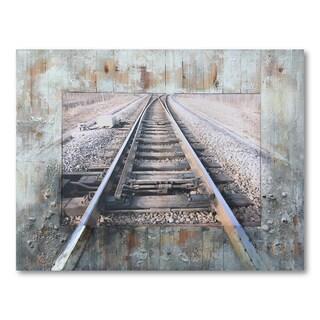 Benjamin Parker 'Train Tracks' 40 x 51-inch Mixed Media Wall Art