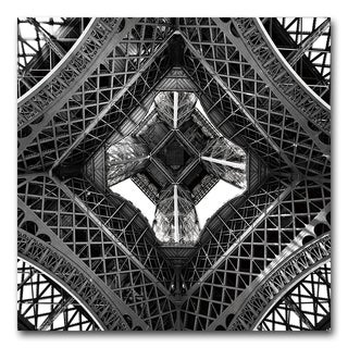 Benjamin Parker 'Underneath the Eiffel' 24-inch Tempered Art Glass