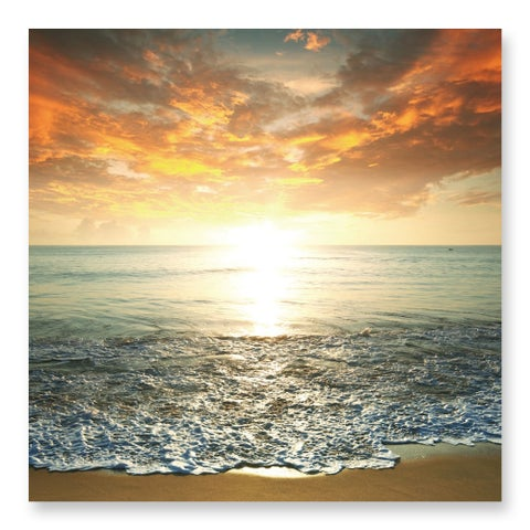 Benjamin Parker 'Sunrise over the Sea' 32-inch Tempered Art Glass