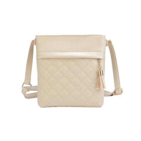 Cross Body Handbag Faux Leather Quilted Stitching Zippered Tassel