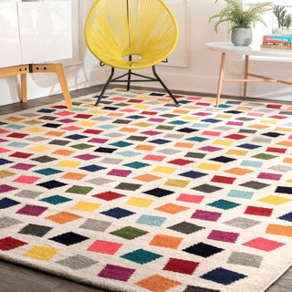 nuLoom Contemporary Southwestern Bohemian Abstract Square Dots Cream/Yellow/Pink Area Rug (8' x 10')