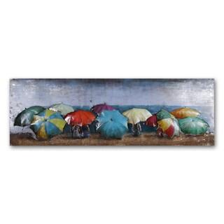 Benjamin Parker 'Umbrellas in the Sun' 23 x 70-inch Dimensional Metal Wall Art
