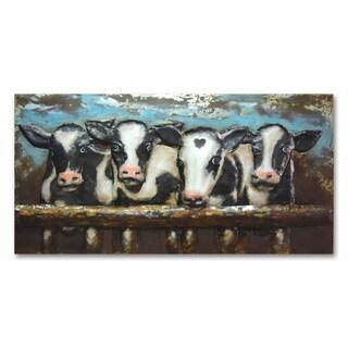 Benjamin Parker 'Cows' 24 x 47-in Dimensional Metal Wall Art