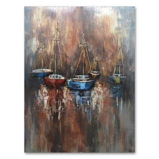 Benjamin Parker 'Boats' 29 x 39-in Dimensional Metal Wall Art