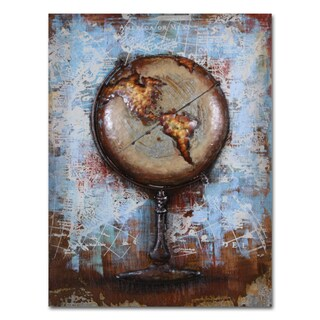 Benjamin Parker 'The Globe' 29 x 39-in Dimensional Metal Wall Art