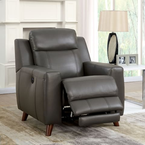 Furniture of America Zass Modern Grey Faux Leather Recliner Chair