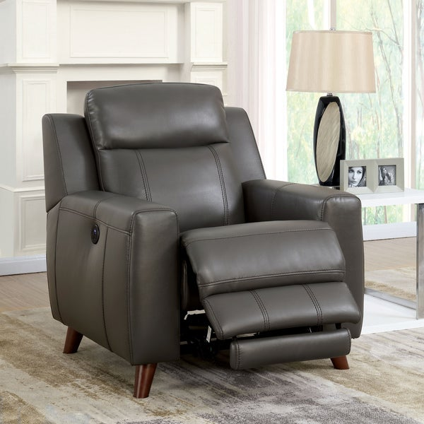 Furniture Of America Tepperen Contemporary Grey Leather Gel Upholstered  Recliner Chair