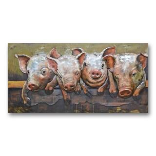 Benjamin Parker 'Piggies' 24 x 47-in Dimensional Metal Wall Art