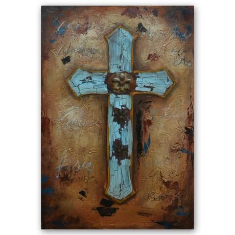 Benjamin Parker 'Turquoise Cross' 31x47-inch Mixed Media Canvas Wall Art
