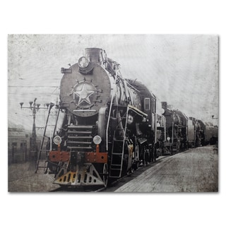Benjamin Parker 'Train Is Coming' 30x40-inch Silver Giclee Wall Art