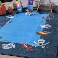 nuLOOM Contemporary Kids Playtime Printed Pirate Treasury Blue Rug (5' x 7'5)