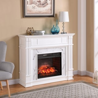 Gracewood Hollow Boudinot Faux Cararra Marble Infrared Media Fireplace - White