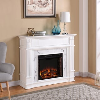 Harper Blvd Vierling Faux Cararra Marble Electric Media Fireplace - White